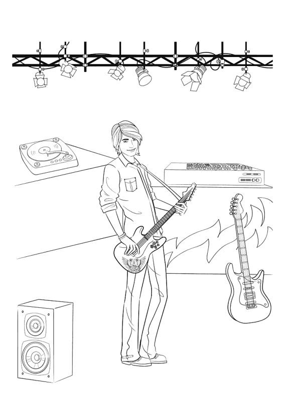 Раскраска для девочек «Мальчик Кен музыкант», чтобы распечатать бесплатно и раскрасить онлайн