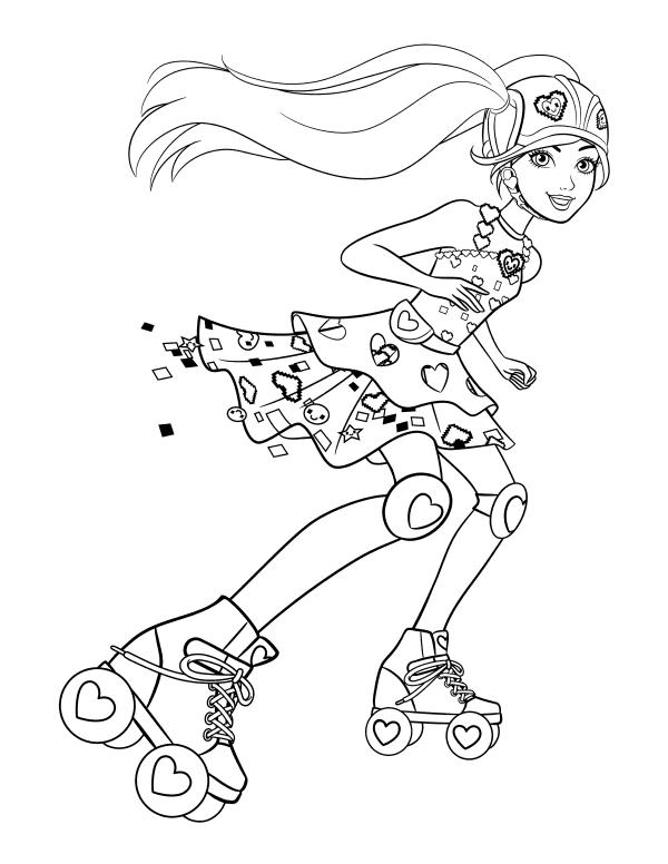 Раскраска для девочек «Барби на роликах», чтобы распечатать бесплатно