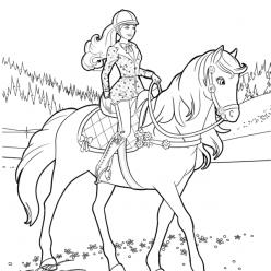 Раскраска для девочек «Барби верховая езда», чтобы распечатать бесплатно и раскрасить онлайн
