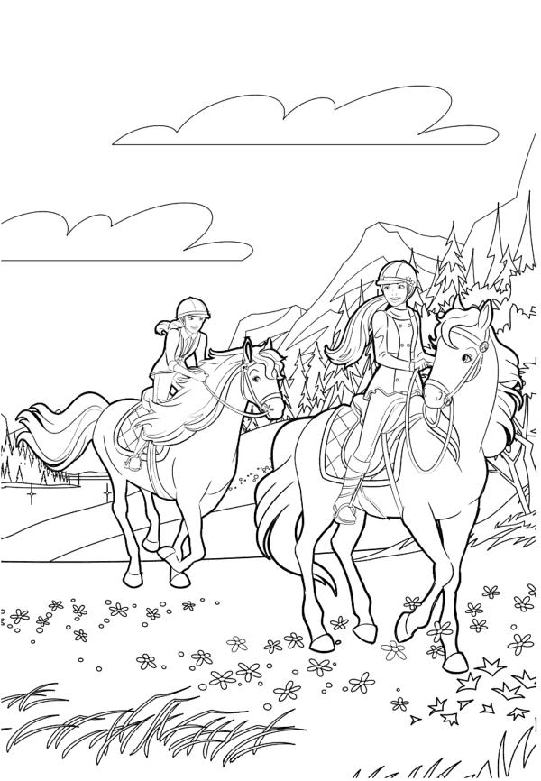 Раскраска для девочек «Барби прогулка на лошадях», чтобы распечатать бесплатно
