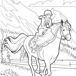 Раскраска для девочек «Барби на лошади», чтобы распечатать бесплатно