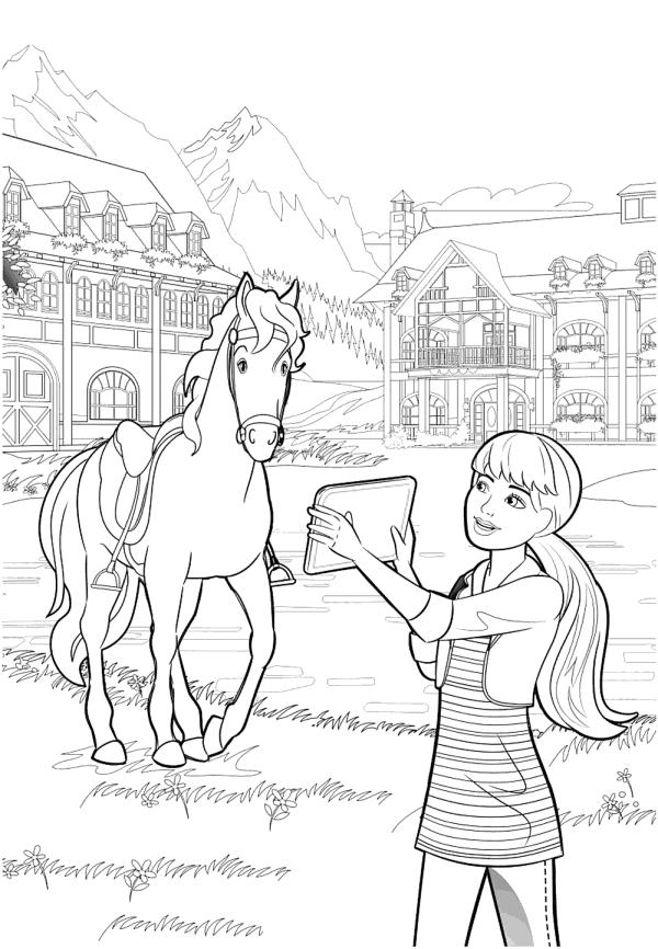 Раскраска для девочек «Барби на лошадиной ферме», чтобы распечатать бесплатно