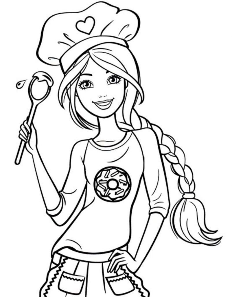 Раскраска для девочек «Барби кондитер», чтобы распечатать бесплатно