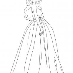 Раскраска для девочек «Барби в длинном платье», чтобы распечатать бесплатно