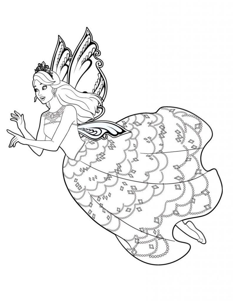 Раскраска для девочек «Барби фея с крыльями», чтобы распечатать бесплатно и раскрасить онлайн