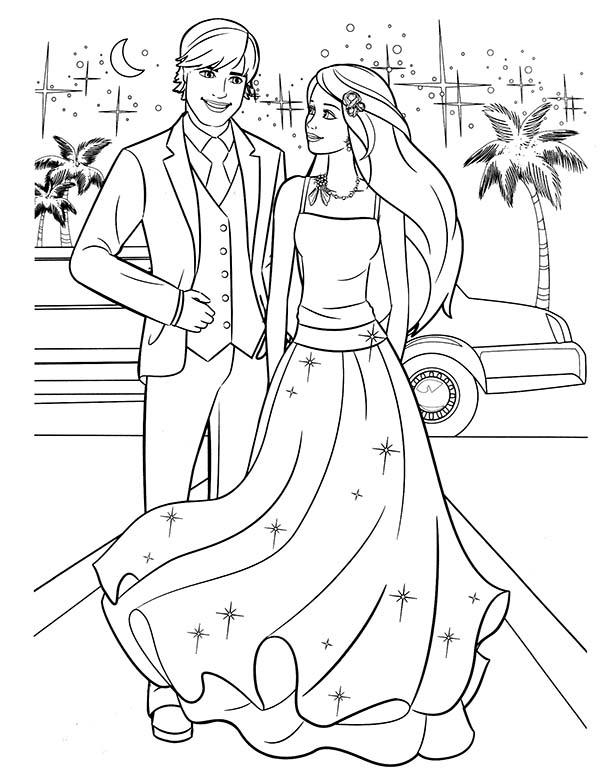 Раскраска для девочек «Свадьба Барби и Кена», чтобы распечатать бесплатно