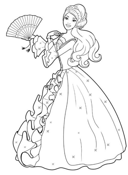 Раскраска для девочек «Барби в старинном платье», чтобы распечатать бесплатно