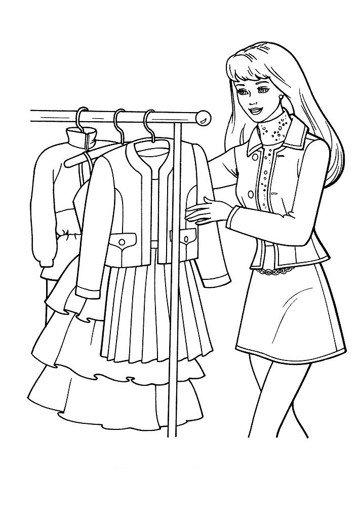 Раскраска для девочек «Барби на работе», чтобы распечатать бесплатно