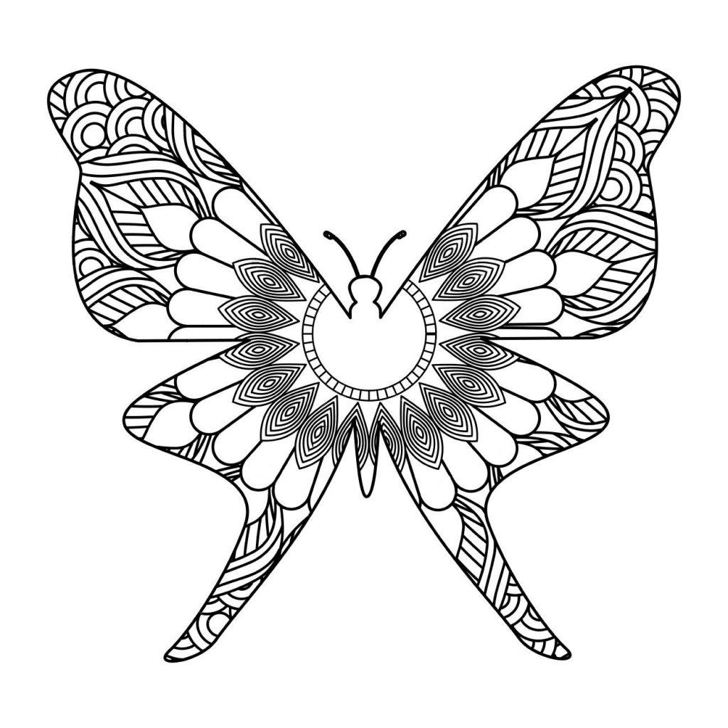 Раскраска арт терапия насекомые «Красивая бабочка», чтобы распечатать бесплатно