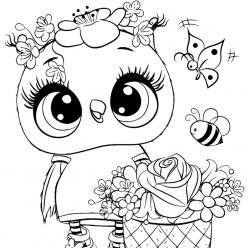 Раскраски для девочек «Милашки» Совушка, чтобы бесплатно распечатать и раскрасить онлайн