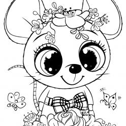 Раскраски для девочек «Милашки» Мышка с цветами, чтобы бесплатно распечатать в хорошем качестве А4
