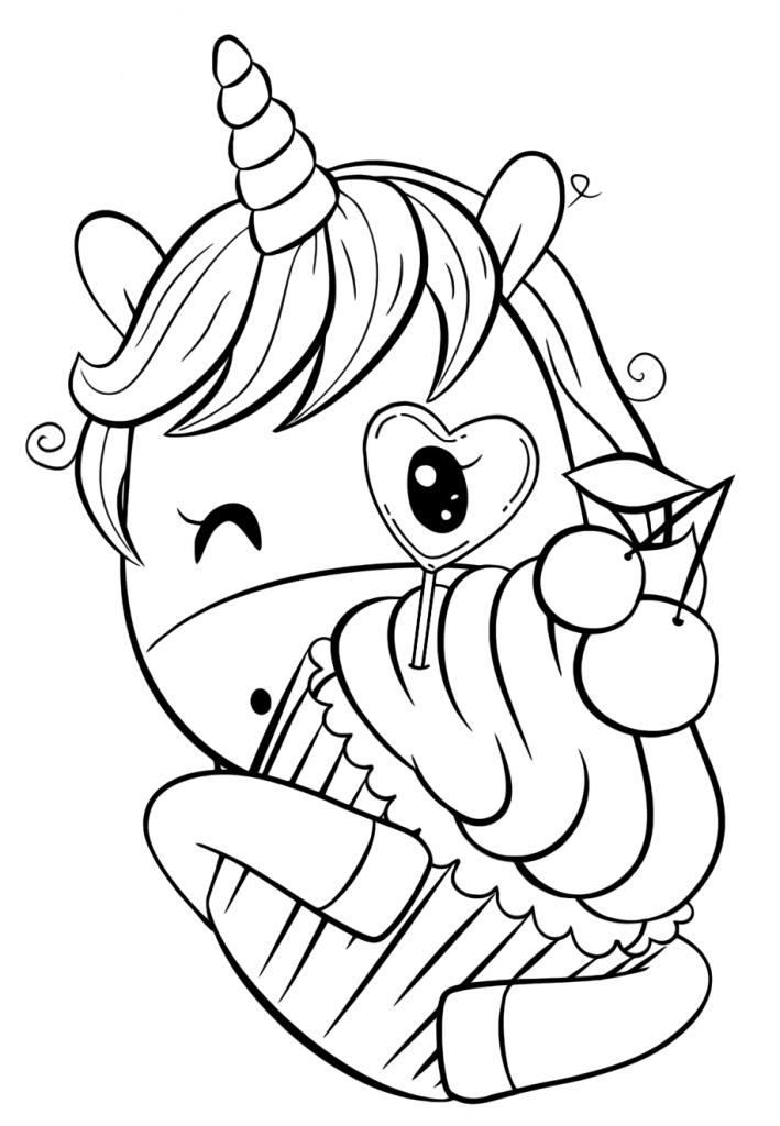Раскраски для девочек «Милашки» Единорожка с капкейком, чтобы бесплатно распечатать в хорошем качестве А4