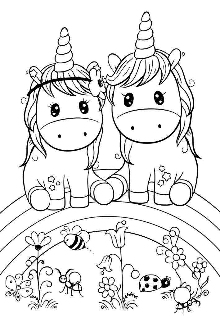 Раскраски для девочек «Милашки» парочка единорогов, чтобы бесплатно распечатать в хорошем качестве А4
