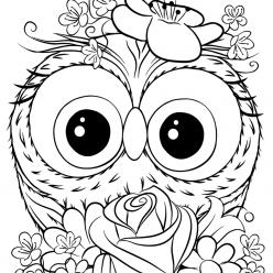 Раскраски для девочек «Милашки» Совенок, чтобы бесплатно распечатать в хорошем качестве А4