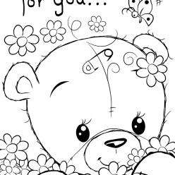 Раскраски для девочек «Милашки» Медведь, чтобы бесплатно распечатать в хорошем качестве А4