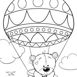 Раскраски для девочек «Милашки» Медведь Тедди на воздушном шаре, чтобы бесплатно распечатать в хорошем качестве А4