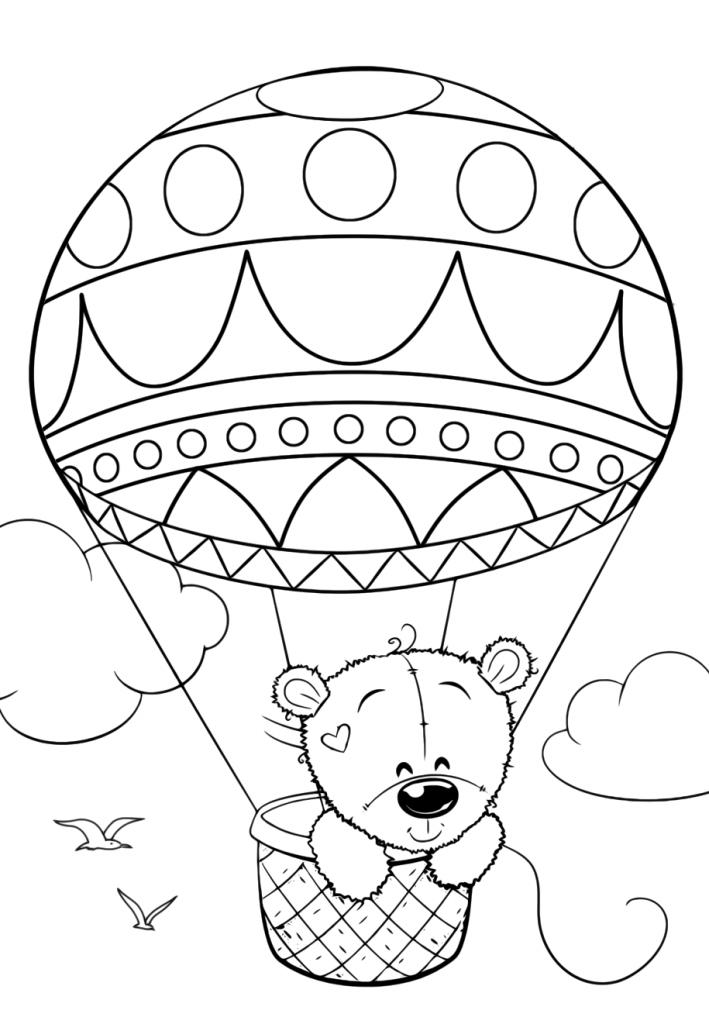 медведь тедди на воздушном шаре милашки раскраски антистресс
