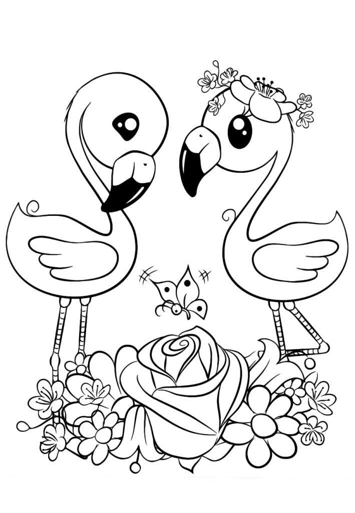 Раскраски для девочек «Милашки» Фламинго, чтобы бесплатно распечатать в хорошем качестве А4