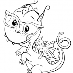 Раскраски для девочек «Милашки» Дракон, чтобы бесплатно распечатать в хорошем качестве А4