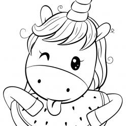 Раскраски для девочек «Милашки» Единорог с арбузом, чтобы бесплатно распечатать в хорошем качестве А4