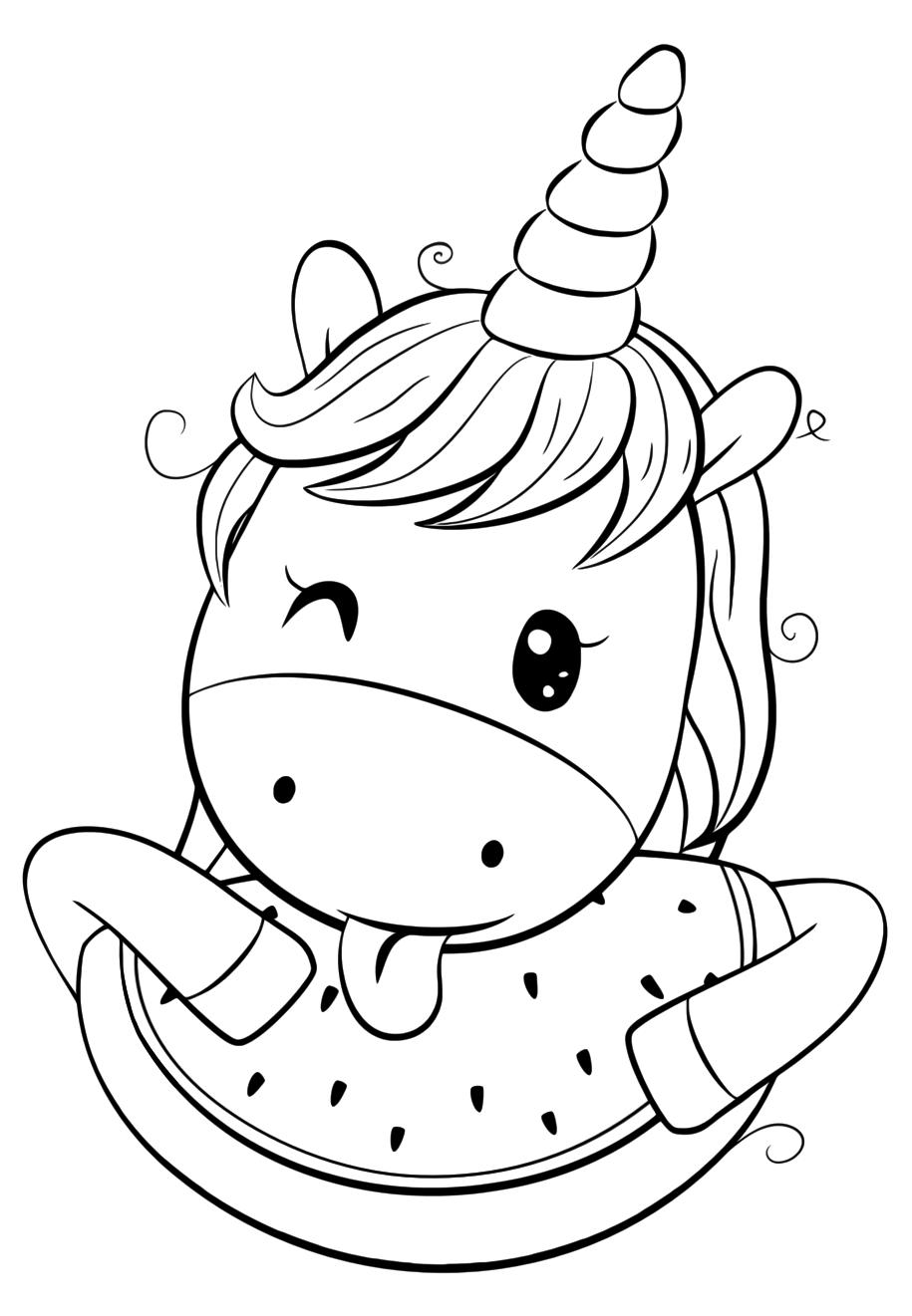 Милашка Единорог с арбузом - Милашки - Раскраски антистресс