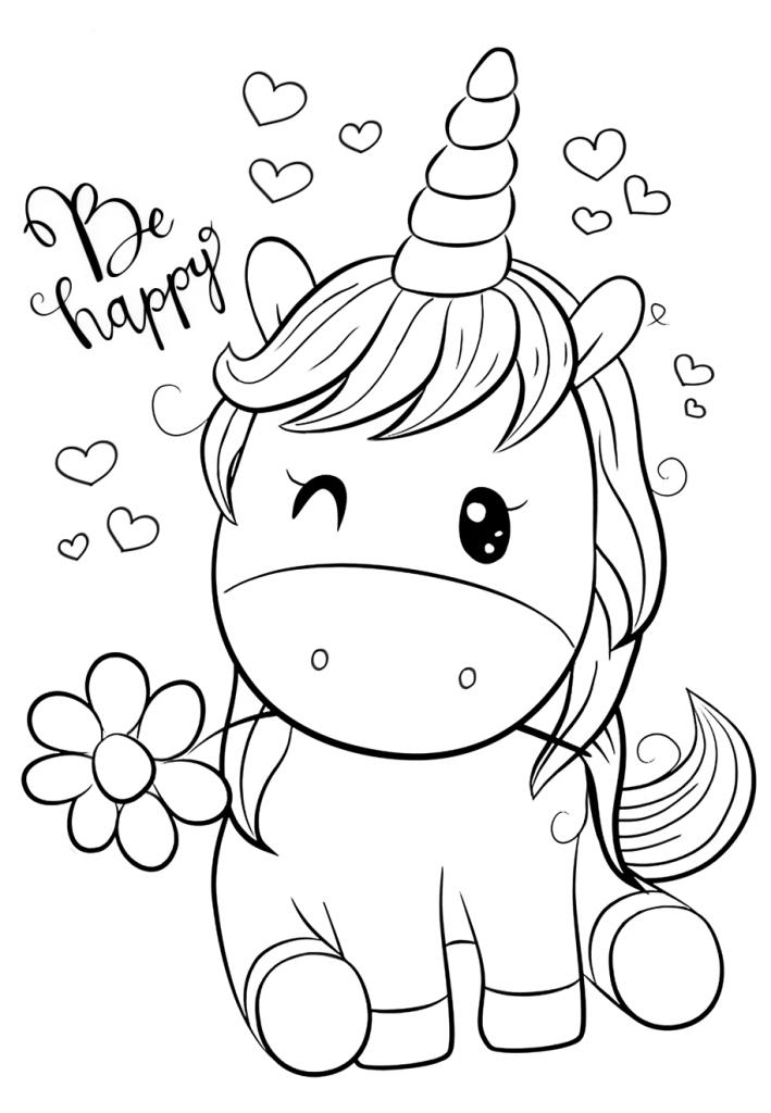 Раскраски для девочек «Милашки» Единорог с ромашкой, чтобы бесплатно распечатать в хорошем качестве А4