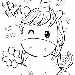 Раскраски для девочек «Милашки» Единорог, чтобы бесплатно распечатать в хорошем качестве А4