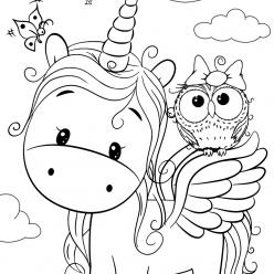 Раскраски для девочек «Милашки» Единорог с совой, чтобы бесплатно распечатать в хорошем качестве А4