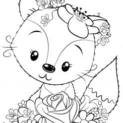 Раскраски для девочек «Милашки» Лисичка, чтобы бесплатно распечатать в хорошем качестве А4