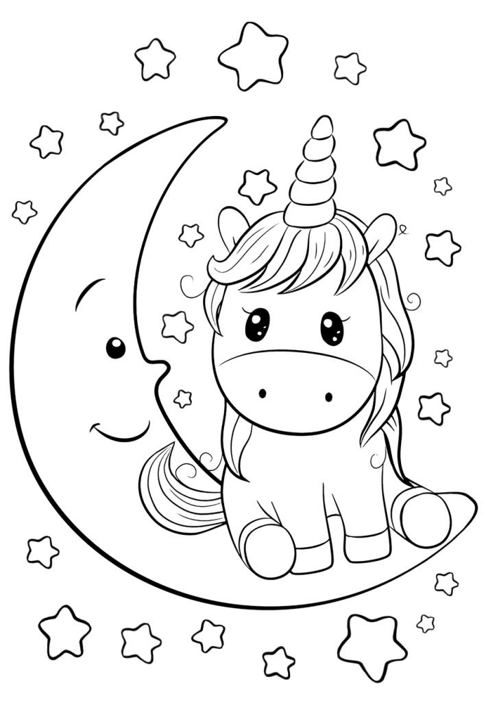 Раскраски для девочек «Милашки» Единорог на луне, чтобы бесплатно распечатать в хорошем качестве А4