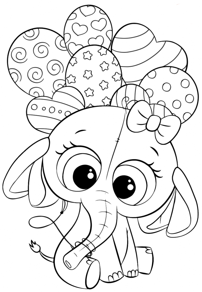 Раскраски для девочек «Милашки» Слоник с воздушными шарами, чтобы бесплатно распечатать в хорошем качестве А4