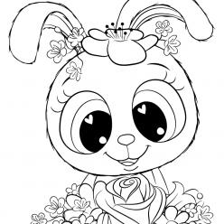 Раскраски для девочек «Милашки» Зайчик, чтобы бесплатно распечатать в хорошем качестве А4