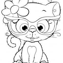 Раскраски для девочек «Милашки» Котик в очках, чтобы бесплатно распечатать в хорошем качестве А4