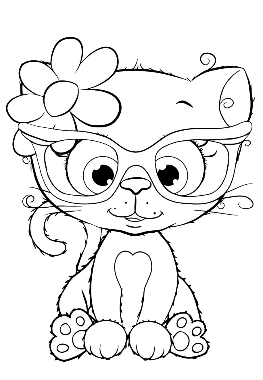 милашка котик в очках милашки раскраски антистресс