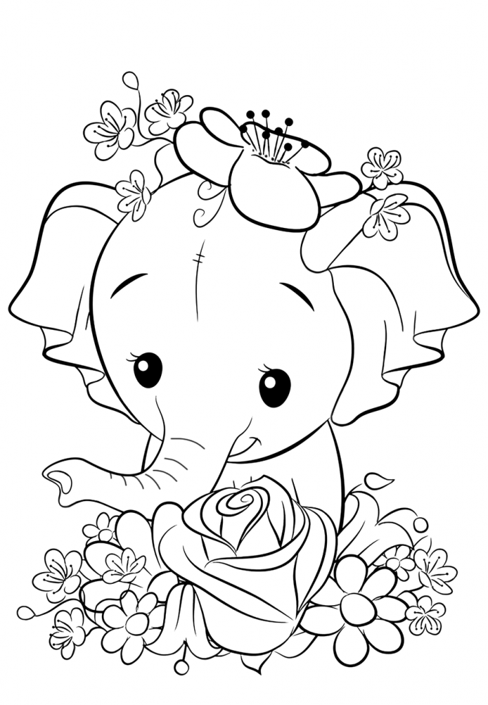 Раскраски для девочек «Милашки» Слоник, чтобы бесплатно распечатать в хорошем качестве А4
