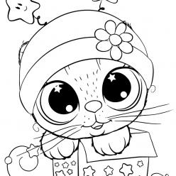 Раскраски для девочек «Милашки» Малыш в шапочке, чтобы бесплатно распечатать в хорошем качестве А4