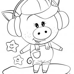 Раскраски для девочек «Милашки» Свинка на скейте, чтобы бесплатно распечатать в хорошем качестве А4