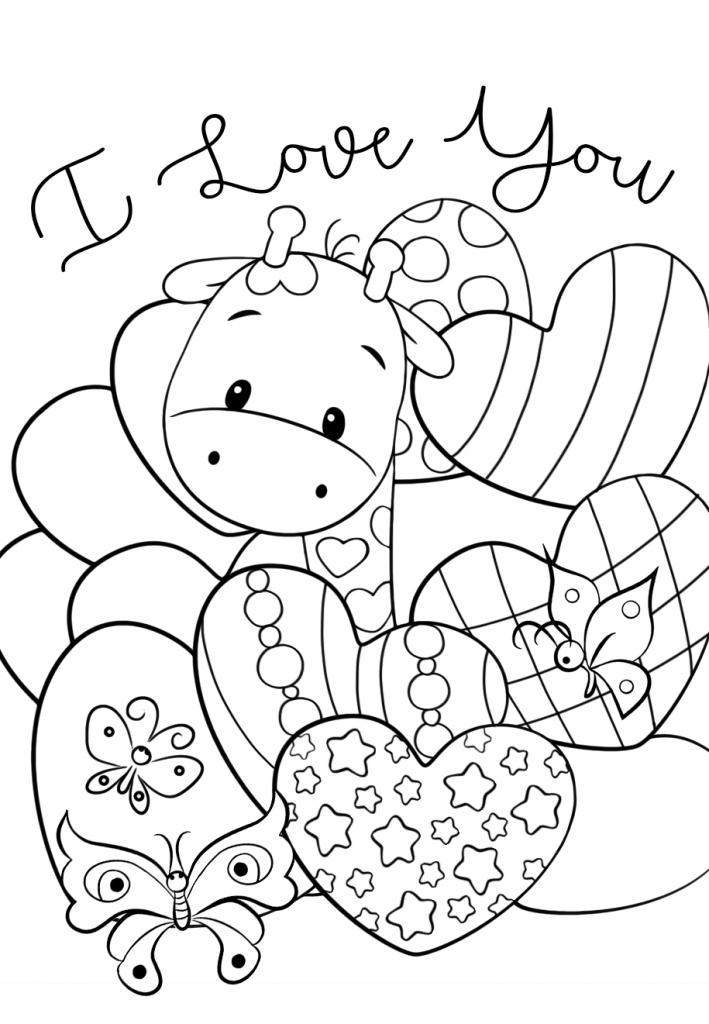Раскраски для девочек «Милашки» Жирафик с сердечками, чтобы бесплатно распечатать в хорошем качестве А4