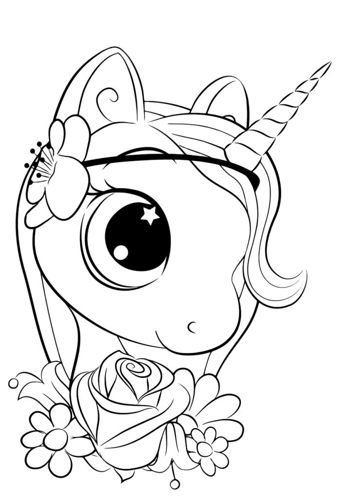 Раскраски для девочек «Милашки» голова единорога, чтобы бесплатно распечатать в хорошем качестве А4