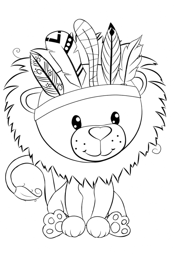 Раскраски для девочек «Милашки» Лев с гривой, чтобы бесплатно распечатать в хорошем качестве А4
