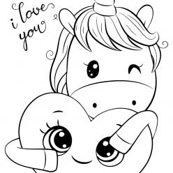 Раскраски для девочек «Милашки» Единорог с сердечком, чтобы бесплатно распечатать в хорошем качестве А4