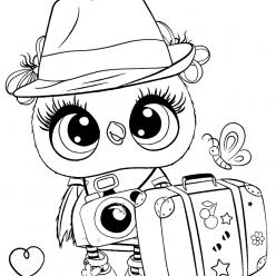 Раскраски для девочек «Милашки» Совушка в шляпе, чтобы бесплатно распечатать в хорошем качестве А4