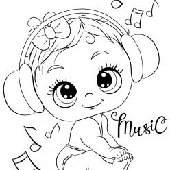 Раскраски для девочек «Милашки» Малыш в наушниках, чтобы бесплатно распечатать в хорошем качестве А4