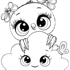 Раскраски для девочек «Милашки» Совушка с облачком, чтобы бесплатно распечатать в хорошем качестве А4
