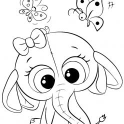 Раскраски для девочек «Милашки» Слоненок, чтобы бесплатно распечатать в хорошем качестве А4
