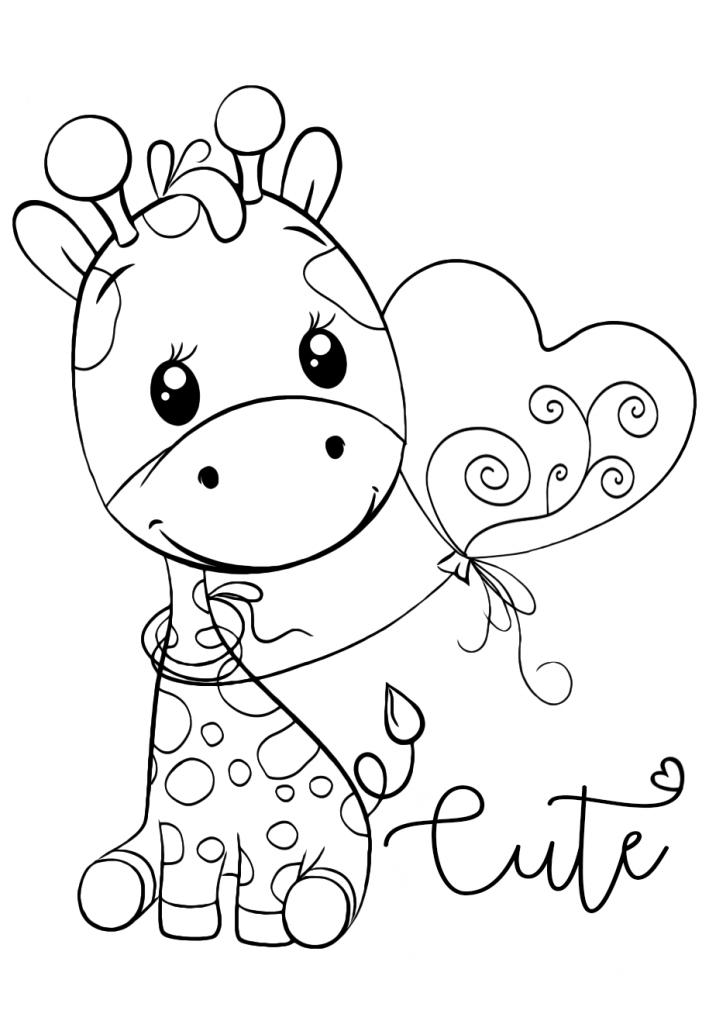 Раскраски для девочек «Милашки» Жирафик с шариком, чтобы бесплатно распечатать в хорошем качестве А4