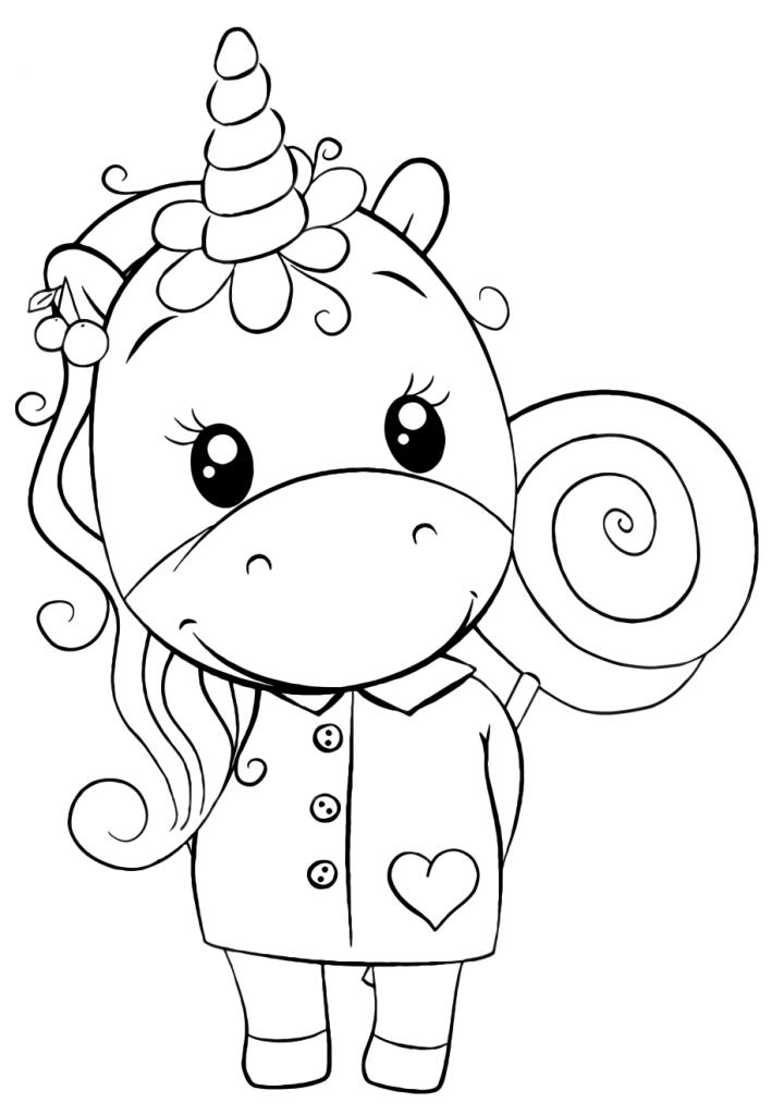 Раскраски для девочек «Милашки» Ежинорожка с леденцом, чтобы бесплатно распечатать в хорошем качестве А4