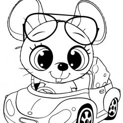 Раскраски для девочек «Милашки» Мышка в машинке, чтобы бесплатно распечатать в хорошем качестве А4