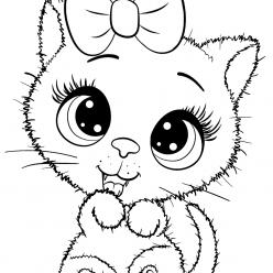 Раскраски для девочек «Милашки» Котик с бантиком, чтобы бесплатно распечатать в хорошем качестве А4