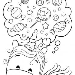 Раскраски для девочек «Милашки» Милый Единорог Конфетка, чтобы бесплатно распечатать в хорошем качестве А4